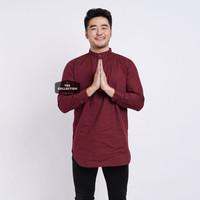 Baju Koko Kemeja Kurta Lengan Panjang Pria Cowok Merah Maroon Polos - MERAH MAROON, M