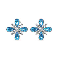 Four Crystal Earring - Anting Crystal Premium Luvea by Her Jewellery - White Blue