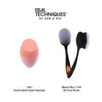 Real Techniques Combo Sale Dual ended expert sponge + all over brush