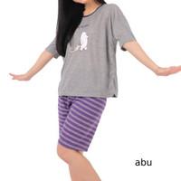 SABEL L XXL Setelan Baju Celana Pendek Wanita Set Kaos Rumah Santai
