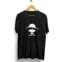 Kaos Pria Distro Luffy Hat OP138 Fashion Pria Baju Pria - Hitam, L
