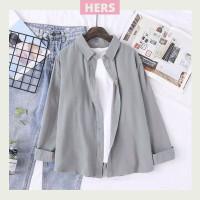 Kemeja Basic Baju Wanita Korea Lengan Panjang Casual