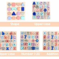Chunky Wooden Alphabet number puzzle - Papan Huruf Angka - 0-9