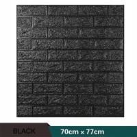 Wallpaper Stiker Dinding 3D Foam Batu Bata Hitam 70cm x 77cm