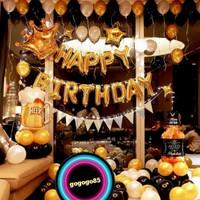 paket dekorasi balon ulang tahun premium dewasa gold black