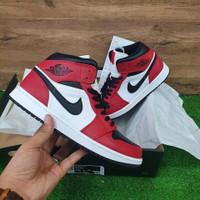 sepatu nike air jordan 1mid chicago toe red black white pk original