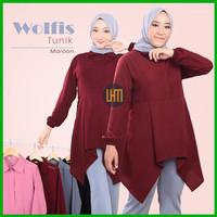 Atasan Wanita Muslim Kekinian Baju Tunik Bahan Wolfis Original Murah
