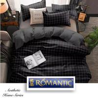 AESTHETIC KOREA Bedcover Sprei by ROMANTIC motif kotak hitam katun