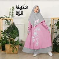 muslim gamis anak Bordir enzie kids (6 - 9 tahun) - Dusty