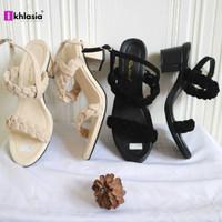Sandal Wanita Hak Tahu Kepang HT61 Cream