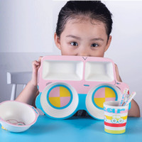 Bamboo Fiber Feeding kids Piring Makan Set Anak Model BUS 1218-21
