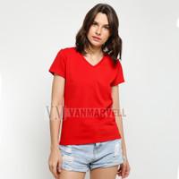 VM Kaos V Neck Wanita Polos pendek Merah