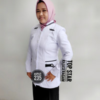 Blazer Putih Wanita, Seragam Putih Cewek, Seragam Jas Putih (Atasan)