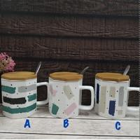 Mug keramik motif ABSTRAK tutup kayu / gelas minum gelas kopi BPA FREE - A