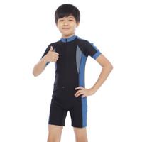 Baju Renang Anak Diving Tanggung polos UNISEX Cowo/Cewe - Biru, M
