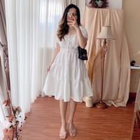 Midi Dress Elegant Flowy Classic White Baju Wanita Casual Formal HF