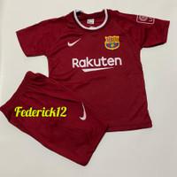 Bisa COD/Stelan baju bola anak termurah Barca maroon Jersey terbaru