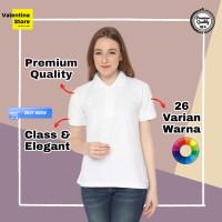 Kaos Kerah Polo Shirt Grosir Wanita Cewek Murah Baju Polo Women Putih