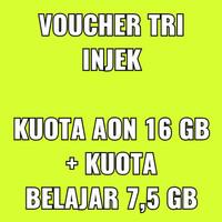 VOUCHER TRI INJEK kuota 16 GB AON