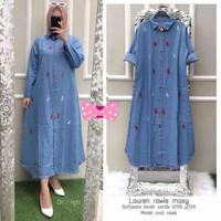 Long Tunik Jeans Wanita Model Terbaru / Baju Muslim / Lauren Polo