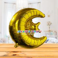 Balon Foil Star Moon Gold / Balon Foil Bulan Bintang / Balon Starmoon