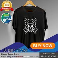 Baju Kaos Oblong Tshirt Terbaru Premium Anime One Piece Luffy 03 - Putih, M