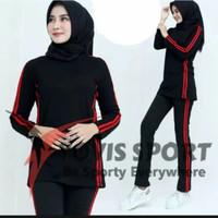 Setelan baju Senam wanita panjang muslim pakaian olahraga wanita
