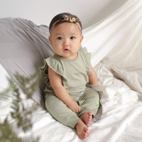Jumper Bayi Perempuan Tencel - HAMAKO - Sage Ruffle Suit