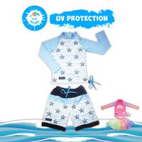 Baju Renang Anak Bayi Perempuan Laki UV Protection KIDDIE SPLASH - Blue Star, XS