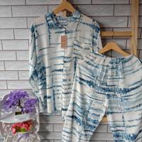 baju couple pajamas ibu dan anak bahan rayon setelan murah
