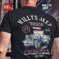 Kaos Baju T shirt Willys Jeep Military Ride 1941 Distro Adventure - XL