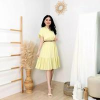 Dress Wanita Cantik Casual Bahan katun Rayon Adem Ootd Fashion Terbaru - Yellow