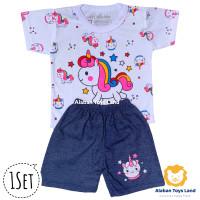 Baju Bayi / Setelan Bayi Perempuan Kaos dan Celana Denim Motif Unicorn