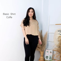 Atasan Wanita Lengan Pendek Basic Shirt Polos Bahan Katun Rayon Adem - Coffee