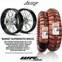 BANSET/BAN SET/WHEELSET SUPERMOTO WR155 SCARLET BLACK MAXXIS EXTRAMAXX