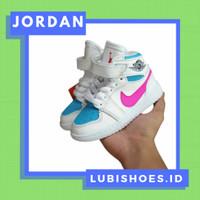 sepatu anak anak - sepatu bayi nike air jordan white blue pink high - 21-35
