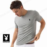 Baju Kaos Oblong Dalam Singlet Gym Body Fit Playboy Cowok Pria Murah - Abu-abu, M to All Size