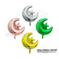Balon Foil Bulan Bintang / Balon Star Moon / Balon Dekorasi Lebaran