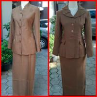 baju seragam dinas kantor pdh guru coklat wanita
