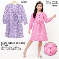 pakaian fashion dress tunik anak perempuan motif kotak murah 6-11 thn