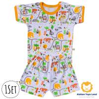 Baju Bayi / Setelan Bayi Lengan Pendek Katun Premium Motif Hewan Lucu
