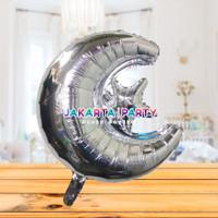Balon Foil Star Moon Silver / Balon Foil Bulan Bintang/ Balon Starmoon