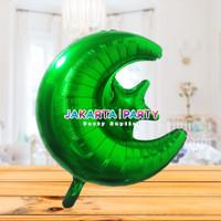 Balon Foil Star Moon Hijau / Balon Foil Bulan Bintang / Balon Starmoon