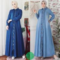 Gamis Maxy Long Dress Jeans Wanita Perempuan Syari Muslim Murah Kriwil