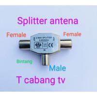 Splitter cabang antena TV T 2 way