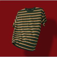 Kaos Stripe Pria 100% Premium Cotton Kaos Belang-Belang Green Classic