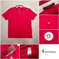 Hush Puppies Basic Polo Shirt Original Kaos Kerah Branded - Chili Red