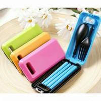 Set Alat Makan / Sendok Set Garpu Portable / Sendok Garpu Travel - Biru