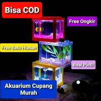 TOPINCN Aquarium Mini Lego Block 4 Windows 12x8x10cm White LED Murah - Transparan