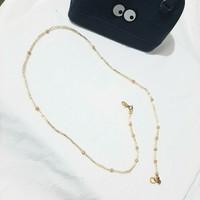 Tali Gantungan Kalung Masker Leher Korean Style - Gold Pearl